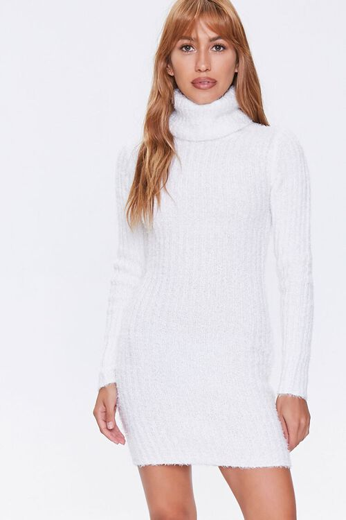 Fuzzy Knit Turtleneck Sweater Dress, image 2