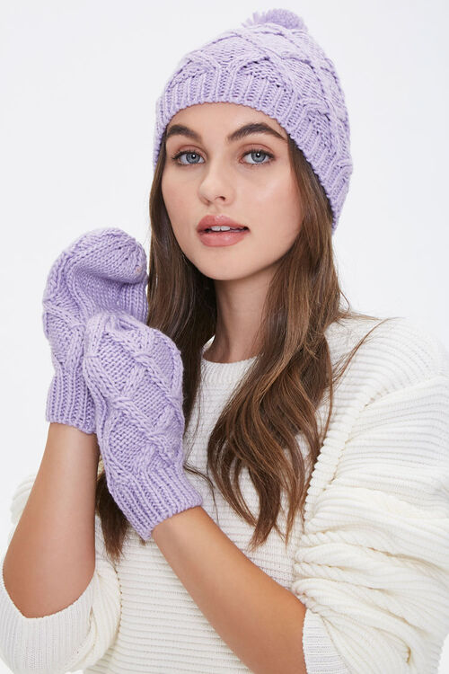 Cable-Knit Beanie & Mittens Set, image 1
