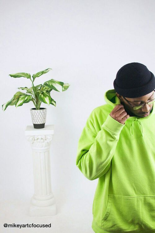 GREEN Drawstring Fleece Hoodie, image 1