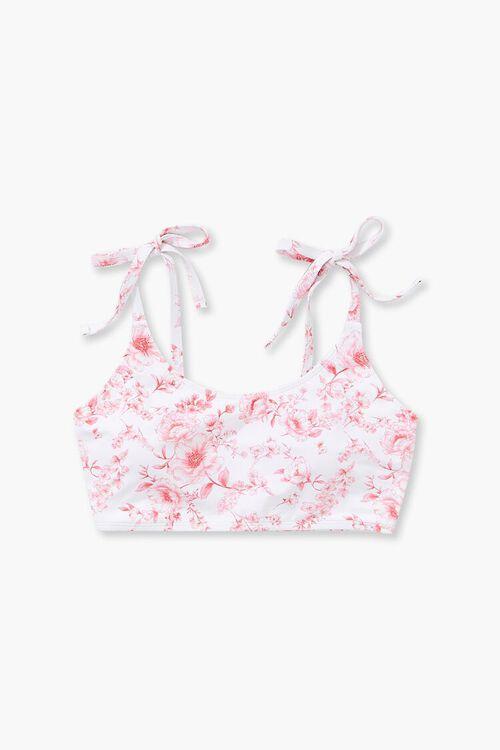 Plus Size Floral Print Self-Tie Bikini Top, image 1
