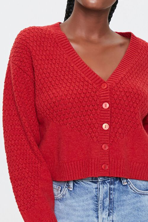 Textured Knit Cardigan Sweater, image 5
