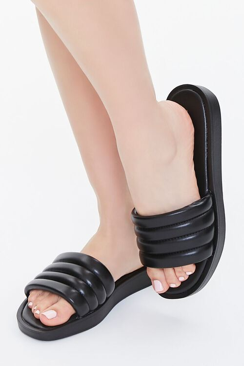 Faux Patent Leather Quilted Sandals, image 1