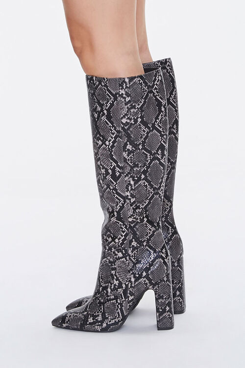 Faux Snakeskin Knee-High Boots, image 2