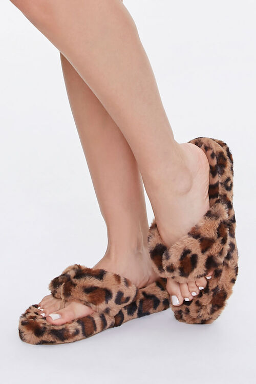 Plush Leopard Thong Slippers, image 1