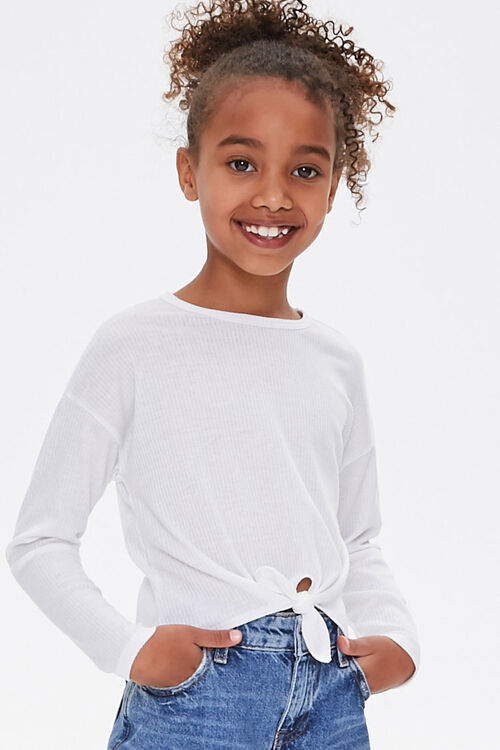 Girls Ribbed Knotted Top (Kids), image 1