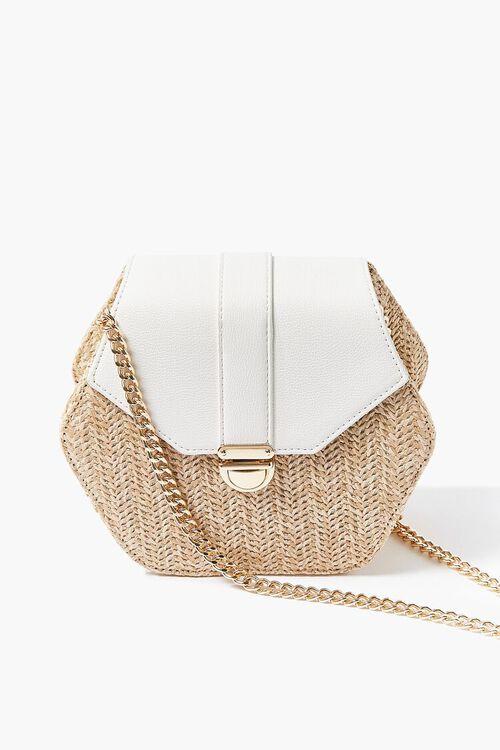 WHITE Basketwoven Hexagon Crossbody Bag, image 1