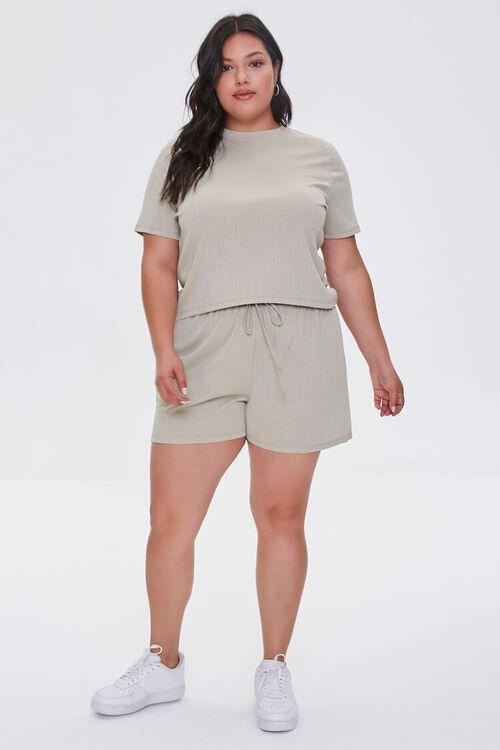 Plus Size Tee & Drawstring Shorts Set, image 4