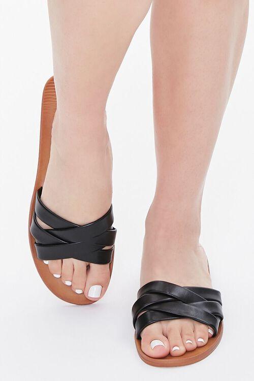 Faux Leather Crisscross Flat Sandals, image 4
