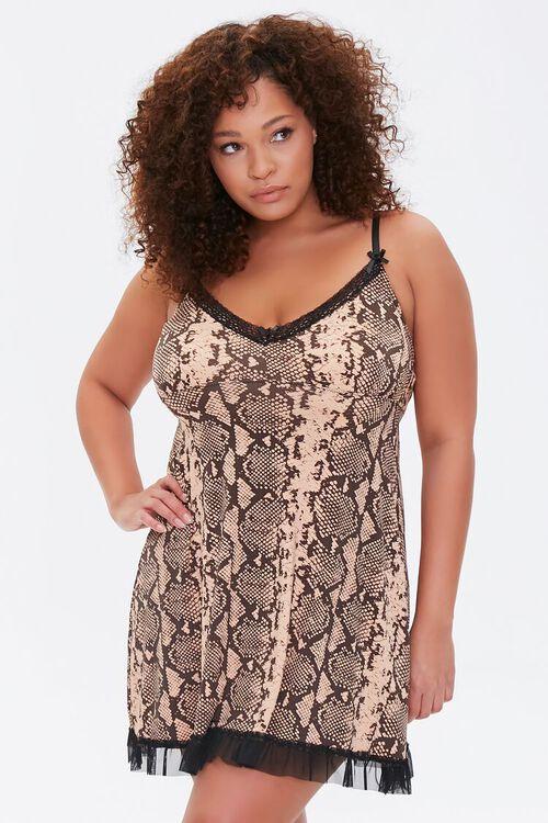 Plus Size Snakeskin Print Slip Dress, image 1