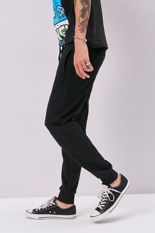 French Terry Drawstring Moto Joggers, image 3
