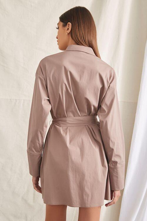 TAUPE Belted Mini Shirt Dress, image 3