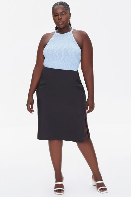 BLACK Plus Size High-Rise Slit Skirt, image 5