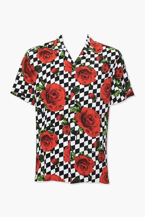 Checkered Rose Print Classic Shirt, image 1