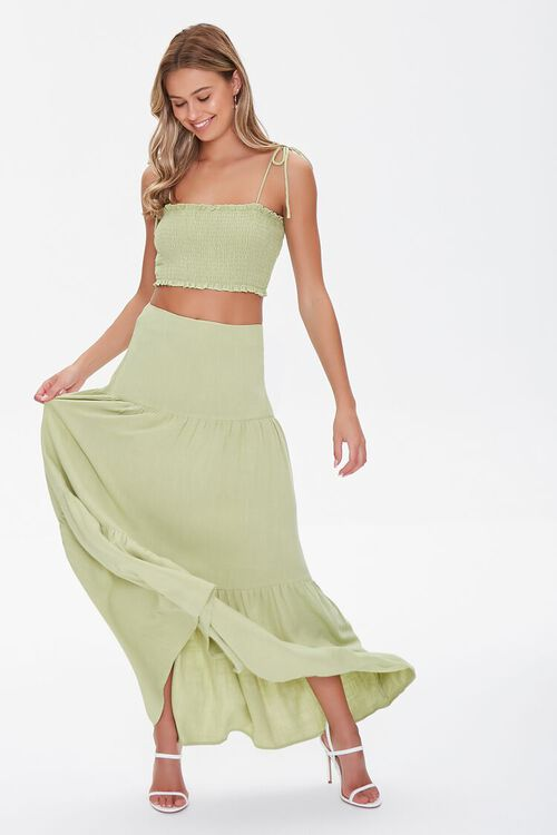 Smocked Cropped Cami & Tiered Skirt Set, image 1