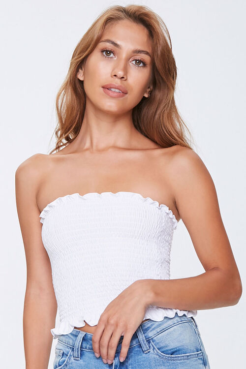 Smocked Ruffle-Trim Tube Top, image 1