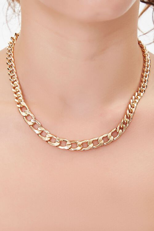 GOLD Chunky Curb Chain Necklace, image 2