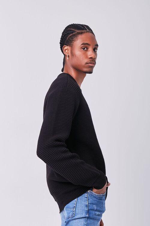BLACK Ribbed Crew Neck Sweater, image 2
