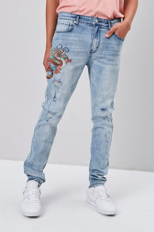 Dragon Embroidered Graphic Jeans, image 5