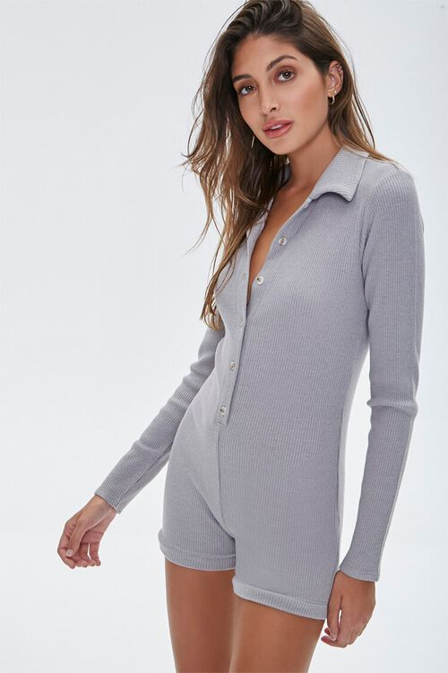 Ribbed Button-Front Romper, image 1