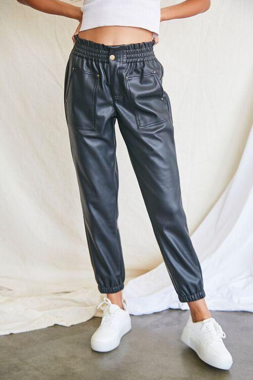 BLACK Faux Leather Paperbag Pants, image 2