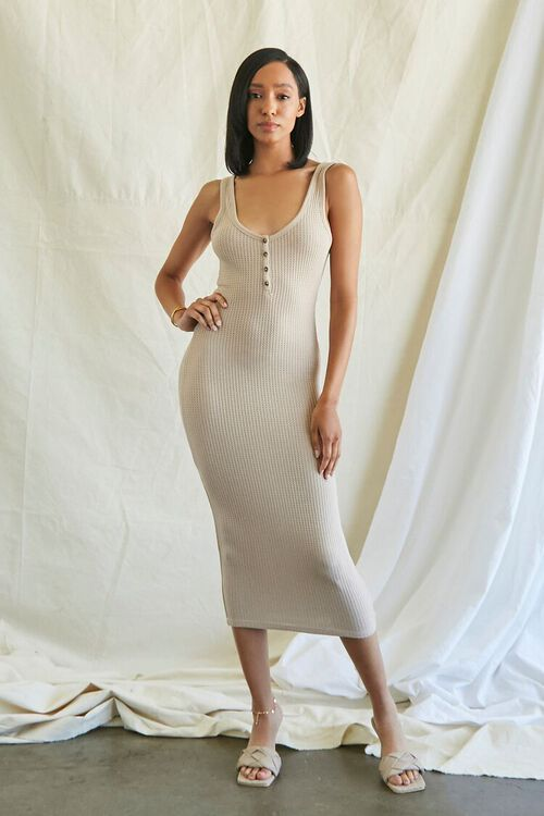 TAUPE Ribbed Knit Tank Top Dress, image 2