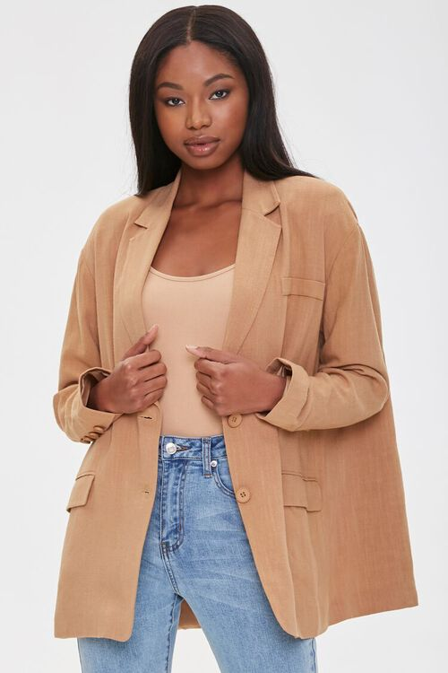 Linen-Blend Button-Front Blazer, image 1