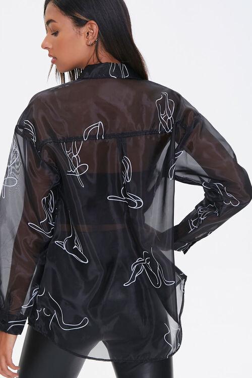 BLACK/WHITE Figure Art Print Shirt, image 3