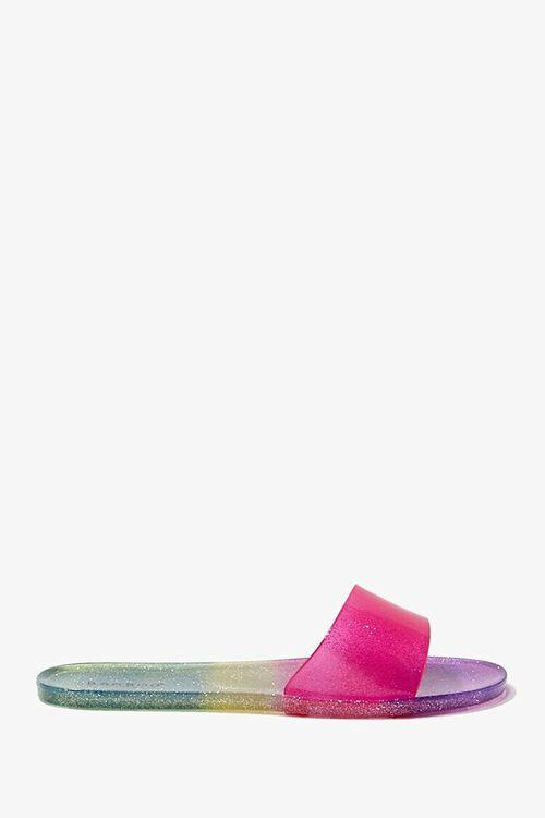 PINK/MULTI Glitter Gradient Jelly Slides, image 1