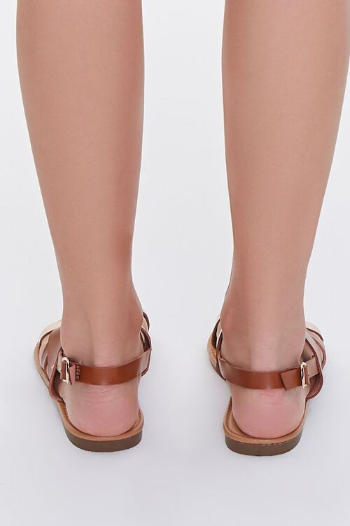 TAN/ROSE GOLD Strappy Faux Leather Sandals, image 3