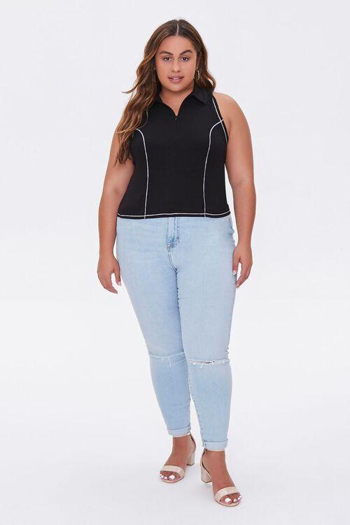 Plus Size Sleeveless Half-Zip Top, image 4