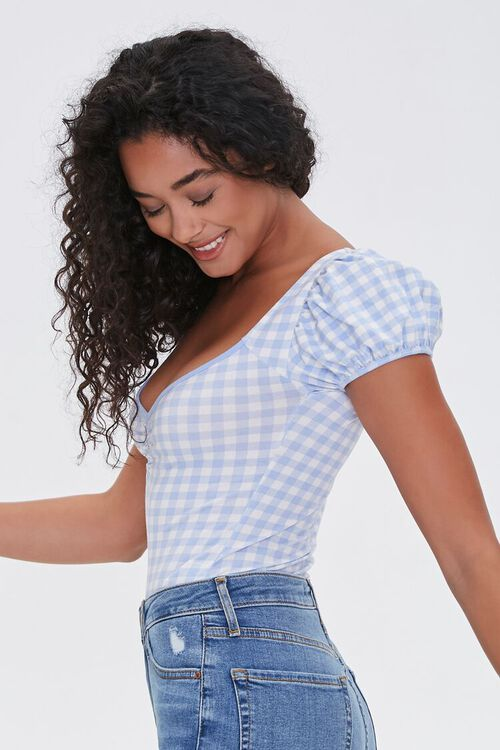 PERIWINKLE/WHITE Ruched Gingham Bodysuit, image 2