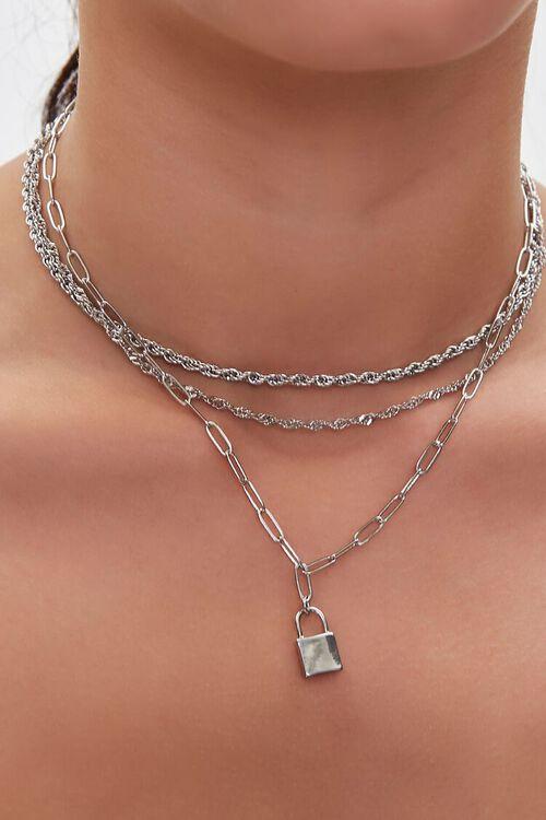 SILVER Upcycled Lock Necklace Set, image 1