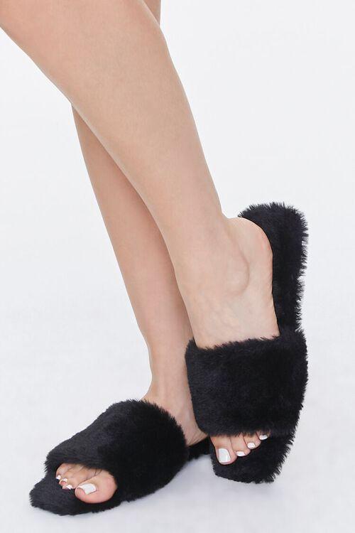 Faux Fur Open-Toe Slippers, image 1