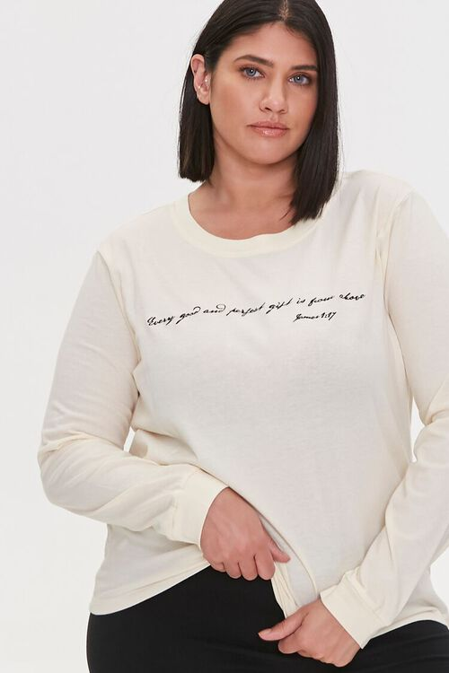 Plus Size Embroidered Bible Tee, image 1