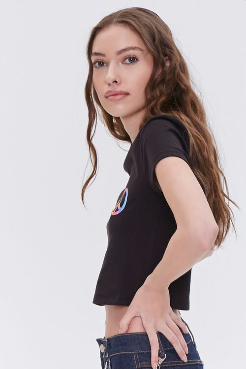 Peace Sign Cropped Tee, image 2