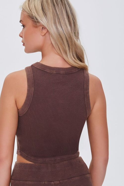 BROWN Waffle Knit Cropped Tank Top, image 3