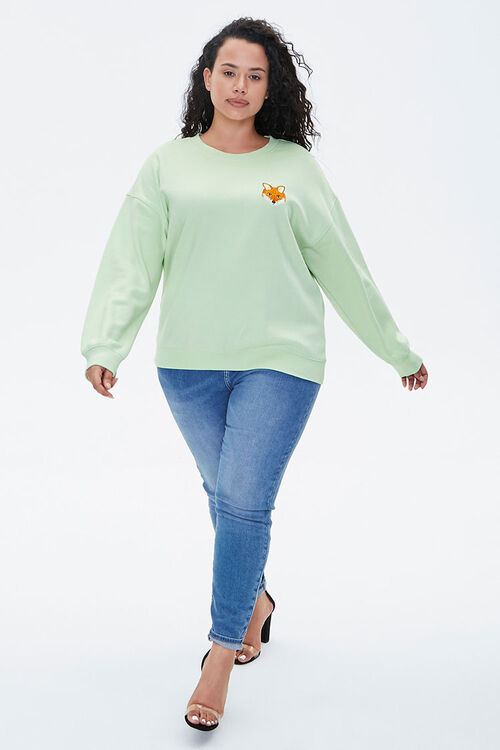 Plus Size Embroidered Fox Sweatshirt, image 4
