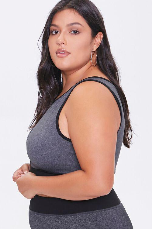 CHARCOAL/BLACK Plus Size Mesh-Insert Sports Bra, image 2