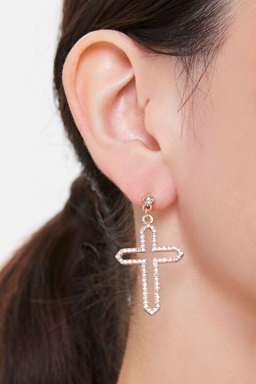 Rhinestone Cross Drop Earrings, image 1