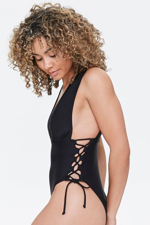Plunging Lace-Up One-Piece Swimsuit, image 2