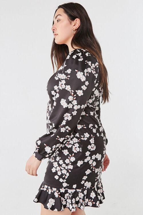 Plus Size Floral Satin Dress, image 2