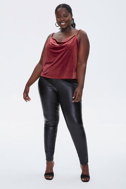 Plus Size Velvet Cowl Cami, image 4