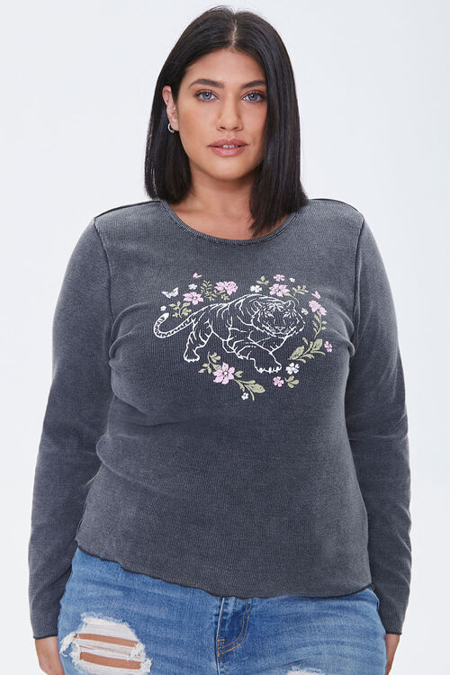 Plus Size Floral Tiger Graphic Top, image 1