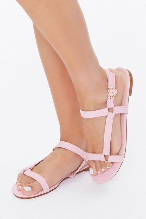 Faux Suede Caged Sandals, image 1