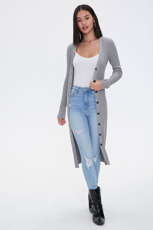 Ribbed Longline Cardigan Sweater, image 1
