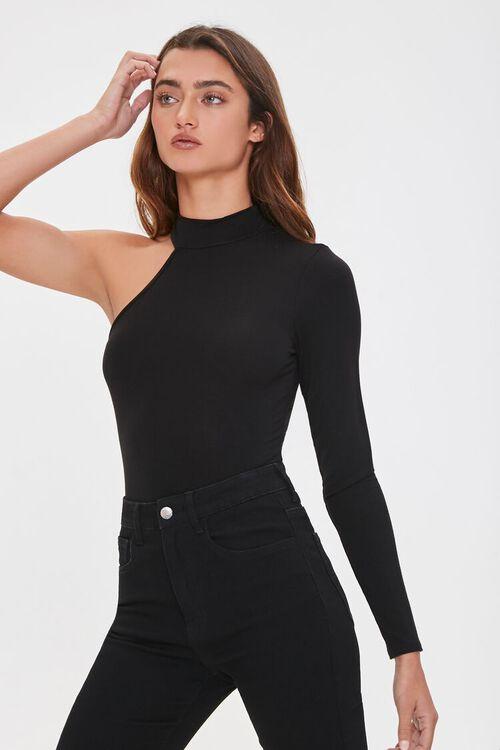 One-Sleeve Mock Neck Bodysuit, image 1