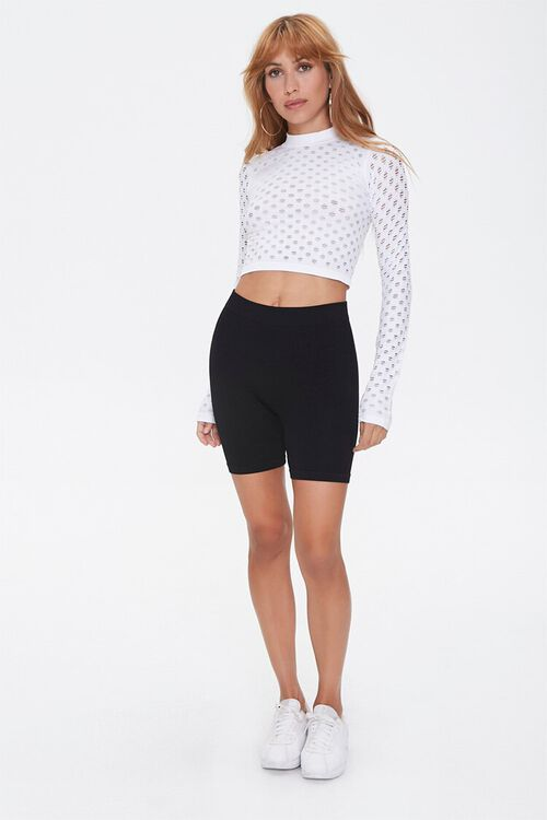 Perforated Mock Neck Crop Top, image 4