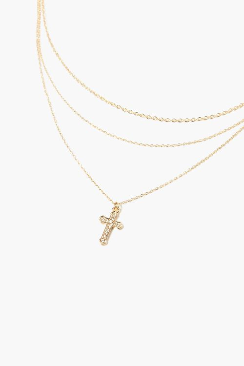 GOLD/CLEAR Layered Cross Pendant Necklace, image 1