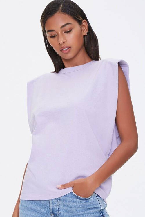 Cotton Shoulder-Pad Muscle Tee, image 1