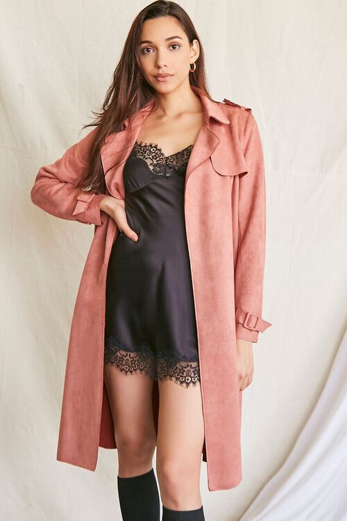 ROSE Faux Suede Duster Trench Jacket, image 5